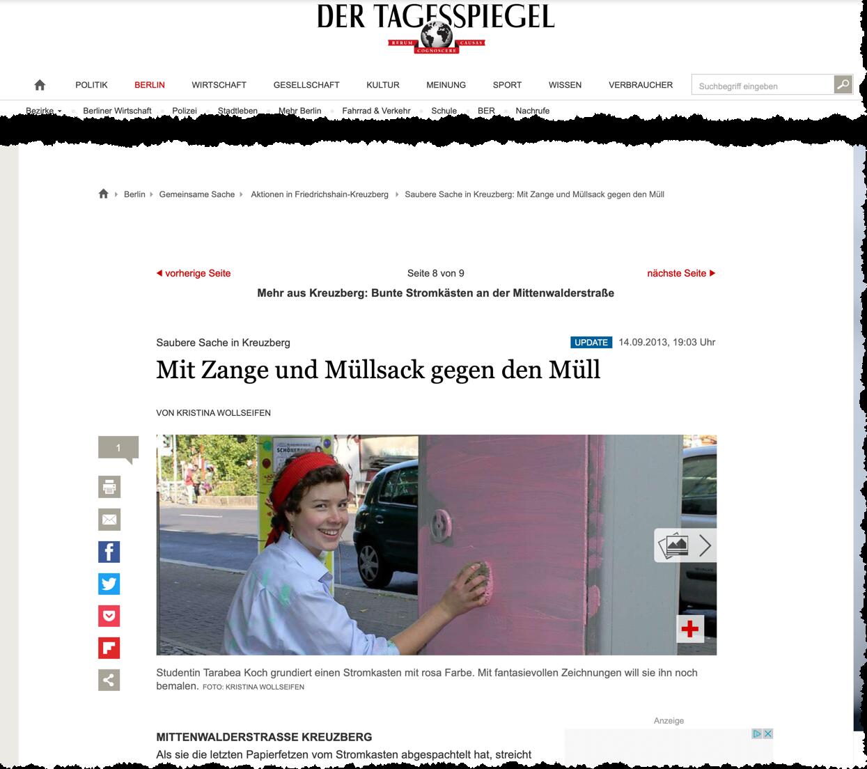 Das Bild zeigt einen Screenshot der Website des Berliner Tagesspiegel. Zu sehen ist ein Ausschnitt des Artikels über die Aktion Kästenbemalung