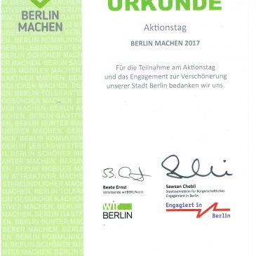 Berlin Machen- Aktionstag: Dank und Urkunde