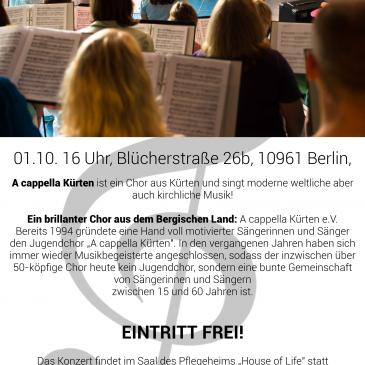 Sonntag, den 1. Oktober, 16:00 – 18:00 Uhr:  A cappella Kürten, Chor aus Bergisch Gladbach in House of Life!