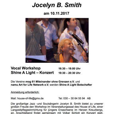 """mog61 e.V. wird am 10.11.17 als """"Shine A LIGHT""""- Botschafter von Jocelyn B. Smith in House of Life geehrt."""