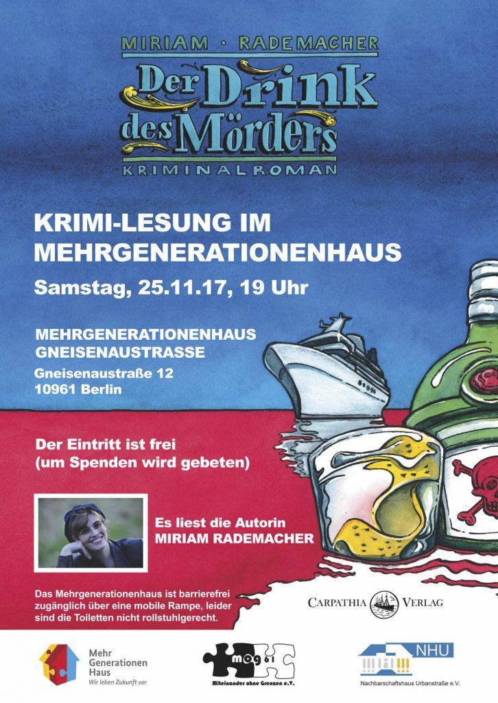 Das Bild zeigt das Plakat für die Krimi-Lesung am Samstag, 25.11.2017 im Mehrgenerationenhaus Gneisenaustraße