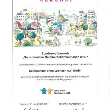 Auszeichnung für das Mittenwalder-Straßenfest 2017
